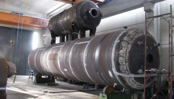PRE-ASSEMBLY OF DEAREATOR ON LOW STEAM PRESSURE VESSELS, PLANT: POWER PLANT E.ON. ALGECIRAS ESPANA, CLIENT: STF - MILAN ITALY